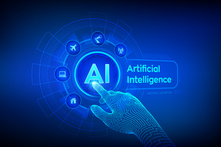 AI. Artificial intelligence. Machine learning, Big data analysis and automation technology in business and industrial manufacturing concept. Hand touching digital interface. Vector illustration