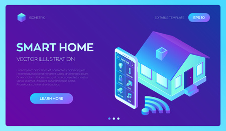 Smart home system concept. 3D isometric remote house control system. IOT concept. Smart home connection and control with devices through home network. Internet of things. Vector illustration 写真素材 - 127570540
