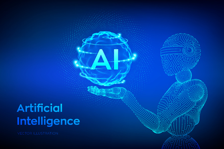 AI. Artificial intelligence. Wireframe robot. AI in robotic hand. Machine learning and cyber mind domination concept. Technology sci-fi concept. Graphic design concept of future. Vector illustration.