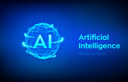 AI. Artificial Intelligence  . Artificial Intelligence and Machine Learning Concept. Sphere grid wave with binary code. Big data innovation technology. Neural networks. Vector illustration.