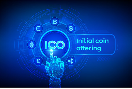 ICO. Initial coin offering. Cryptocurrency and global e-commerce concept. Fintech, Financial trading concept on virtual screen. Robotic hand touching digital interface. Vector illustration. 写真素材 - 127570543