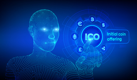 ICO. Initial coin offering. Cryptocurrency and global e-commerce concept. Fintech, Financial trading concept on virtual screen. Wireframed cyborg hand touching digital interface. Vector illustration.  イラスト・ベクター素材