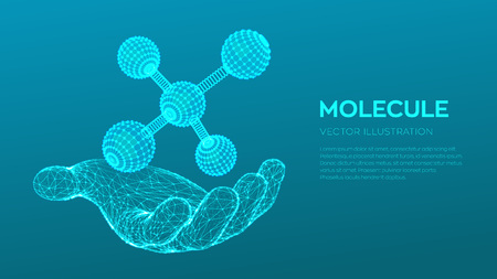 Molecule in hand. Dna, atom, neurons. Molecules and chemical formulas. 3D Scientific molecule background for medicine, science, technology, chemistry, biology Vector illustration