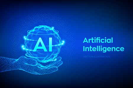 AI. Artificial Intelligence  in hand. Artificial Intelligence and Machine Learning Concept. Sphere grid wave with binary code. Big data innovation technology. Neural networks. Vector illustration.