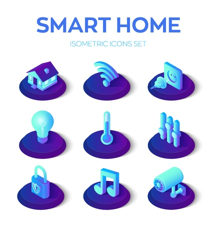Smart home. 3D isometric icons set. Remote house control system. IOT concept. Smart home connection and control system devices. Home network. Internet of things. Vector illustration.  イラスト・ベクター素材