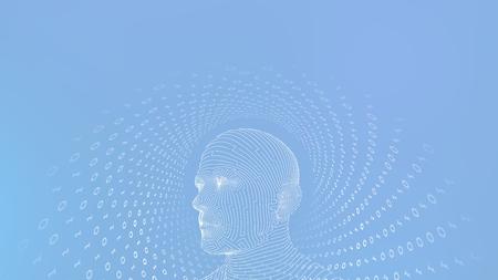 AI. Artificial intelligence concept. Digital brain. Abstract human face. Human head in robot digital computer interpretation. Robotics concept. Wireframe head concept. Vector illustration.