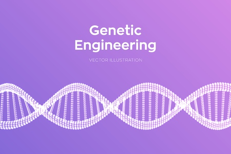 DNA sequence. Wireframe DNA molecules structure mesh. DNA code editable template. Science and Technology concept.  イラスト・ベクター素材