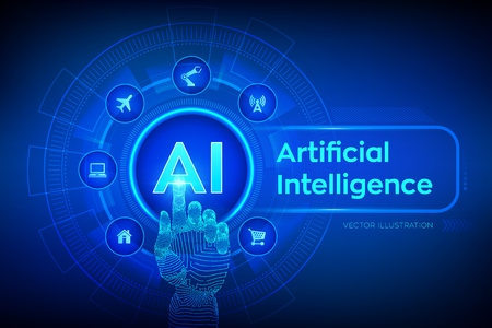 AI. Artificial intelligence. Machine learning, Big data analysis and automation technology in business and industrial manufacturing concept. Hand touching digital interface. 写真素材 - 127570554
