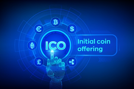 ICO. Initial coin offering. Cryptocurrency and global e-commerce concept. Fintech, Financial trading concept on virtual screen. Robotic hand touching digital interface. Vector illustration  イラスト・ベクター素材