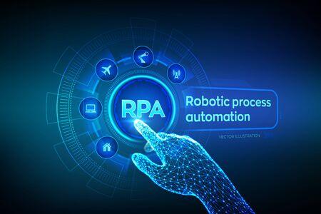 Concepto de tecnología de innovación de automatización de procesos robóticos RPA en pantalla virtual. Mano robótica con estructura metálica tocando la interfaz gráfica digital. AI. Inteligencia artificial. Ilustración vectorial