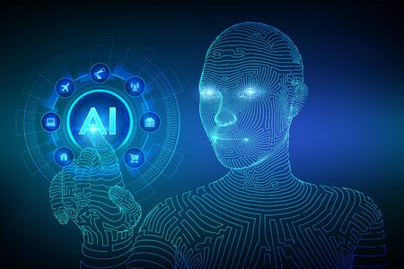 AI. Artificial intelligence. Machine learning. Wireframed female cyborg hand touching digital graph interface. Big data analysis and automation technology. Touch the future. Vector illustration Illustration