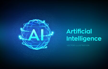 AI. Artificial Intelligence Logo. Artificial Intelligence and Machine Learning Concept. Sphere grid wave with binary code. Big data innovation technology. Neural networks. Vector illustration