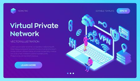 VPN. Virtual private network. Data encryption, IP substitute. Secure VPN connection concept. Cyber security and privacy, Isometric personal data protection. Privacy Protection. Vector Illustration