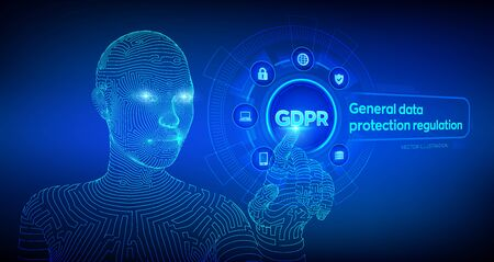GDPR. General Data Protection Regulation. Cyber security and privacy concept on virtual screen. Protection of personal information.