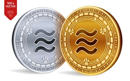 Libra. 3D isometric Physical coins. Digital currency. Cryptocurrency. Golden and silver coins with Libra symbol isolated on white background. Vector illustration 写真素材 - 127208353