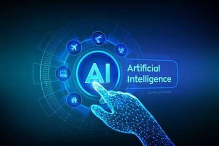 AI. Artificial intelligence. Machine learning, Big data analysis and automation technology in business and industrial manufacturing concept. Hand touching digital interface. Vector illustration 写真素材 - 127208354