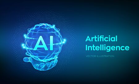 AI. Artificial Intelligence  in hand. Artificial Intelligence and Machine Learning Concept. Sphere grid wave with binary code. Big data innovation technology. Neural networks. Vector illustration
