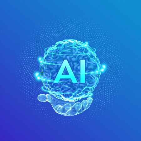 AI. Artificial Intelligence Logo in hand. Artificial Intelligence and Machine Learning Concept. Sphere grid wave with binary code. Big data innovation technology. Neural networks. Vector illustration  イラスト・ベクター素材