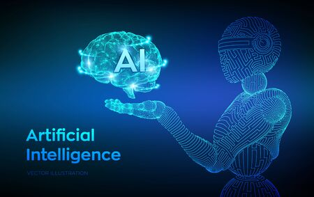 AI. Artificial intelligence. AI in the form of cyborg or bot. Wireframe robot. Digital brain. Brain in robotic hand. Machine learning. Graphic design concept of future. Vector illustration