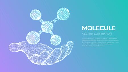 Molecule in hand. Dna, atom, neurons. Molecules and chemical formulas. 3D Scientific molecule background for medicine, science, technology, chemistry, biology Vector illustration 写真素材 - 127208361