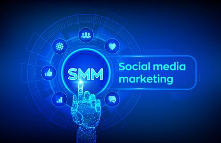 SMM. Social media marketing. Likes, comments, followers and message icons on virtual screen. Robotic hand touching digital interface. Business and internet concept. Vector illustration 写真素材 - 127208362