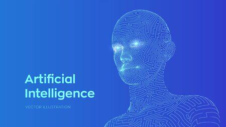 Artificial intelligence concept. Ai digital brain. Abstract digital human face. Human head in robot computer interpretation. Robotics concept. Wireframe head concept. Vector illustration  イラスト・ベクター素材