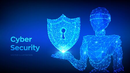 Cyber security concept. Shield with keyhole icon. Internet bot and cybersecurity. Abstract robot holding security icon. Polygonal business concept of data security and protection. Vector Illustration