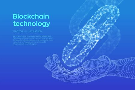 Block chain. Cryptocurrency. Blockchain concept. 3D wireframe chain with digital blocks in robotic hand. Editable cryptocurrency template. Stock vector illustration
