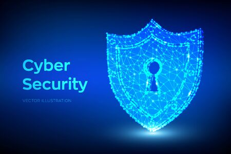 Security shield. Cyber security. Shield With Keyhole icon. Protect and Security of Safe concept. Illustrates cyber data security or information privacy idea. Low polygonal vector Illustration 写真素材 - 127208366