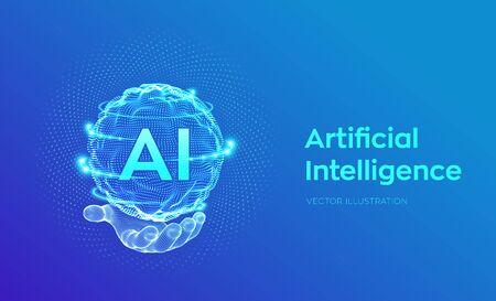 AI. Inteligencia artificial en la mano. Concepto de inteligencia artificial y aprendizaje automático. Onda de cuadrícula de esfera con código binario. Tecnología de innovación de big data. Redes neuronales. Ilustración de vector.