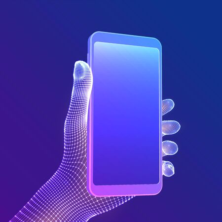 Smartphone in hand. Closeup mobile phone with blank empty screen in hand. Communication app smartphone concept. Digital concept of gadgets and devices themes. Abstract technology vector illustration