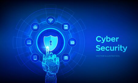 Cyber Security. Data protection business concept on virtual screen. Shield protect icon. Internet privacy and safety. Antivirus interface. Robotic hand touching digital interface. Vector illustration 写真素材 - 127527939