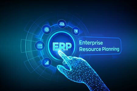 ERP. Enterprise resource planning business and modern technology concept on virtual screen. Corporate Company Management Business. Robotic hand touching digital interface. Vector illustration.
