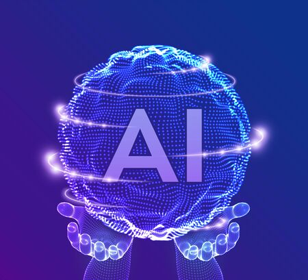 AI Artificial Intelligence  in hands. Artificial Intelligence and Machine Learning Concept. Sphere grid wave with binary code. Big data innovation technology. Neural networks. Vector illustration. Ilustração