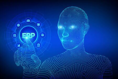 ERP. Enterprise resource planning business and modern technology concept on virtual screen. Corporate Company Management Business. Ilustração