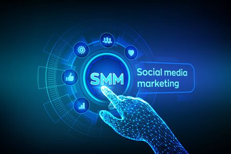 SMM. Social media marketing. Likes, comments, followers and message icons on virtual screen. Robotic hand touching digital interface. Business and internet concept. Vector illustration Иллюстрация