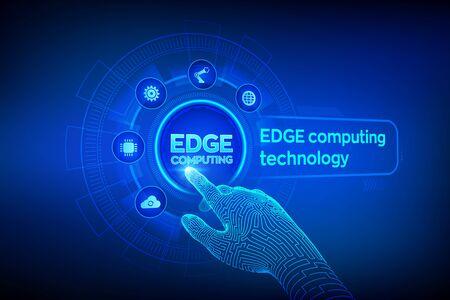 Tecnología informática moderna de computación de borde en concepto de pantalla virtual. Concepto de industria 4.0 de Edge Computing. Internet de las Cosas. Mano robótica tocando la interfaz digital. Ilustración vectorial