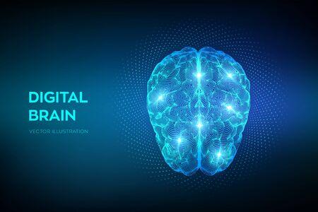 Mózg. Cyfrowy mózg z kodem binarnym. Koncepcja nauki i technologii 3D. Sieć neuronowa. Testowanie IQ, technologia wirtualnej emulacji sztucznej inteligencji. Ilustracja wektorowa