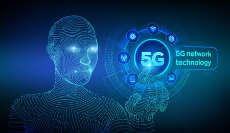 5G network wireless systems  internet of things, Smart city  communication network. 5G wireless mobile internet  connection. Wireframed cyborg  touching digital interface. Ilustração