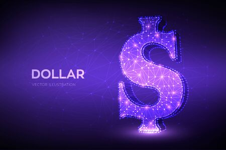 Dollar. Low poly abstract mesh line and point United States Dollar sign. USD currency icon. American currency. Cash and money, wealth, payment symbol. 3D polygonal vector illustration Ilustração