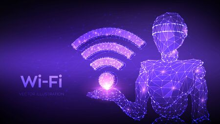 Wi-Fi. Low poly abstract Wi Fi sign. Wlan access, wireless hotspot signal symbol. Mobile connection zone. Data transfer. Abstract 3d low polygonal robot holding WiFi icon. Vector illustration