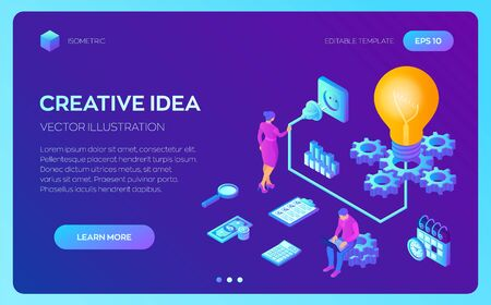Creative Idea. Isometric Idea concept. Light bulb with gears. Business concept for teamwork, cooperation, partnership. Vector illustration infographic template with people, team, light bulb and icon