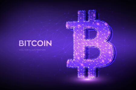 Bitcoin. Low poly abstract mesh line and point Bitcoin sign. Crypto currency, virtual electronic, internet money. Payment symbol. Cryptocurrency e-commerce concept. 3D polygonal vector illustration