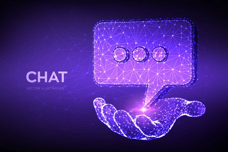 Chat icon. Low poly abstract Chat sign in hand. Speech bubble message symbol. Dialogue cloud. Abstract Social Network or Communication theme in blue color. 3D polygonal vector illustration
