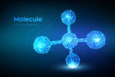 Molecule Structure. Low poly abstract Molecule. Dna, atom, neurons. Molecules and chemical formulas. Scientific background for medicine, science, chemistry, biology. 3D polygonal vector illustration