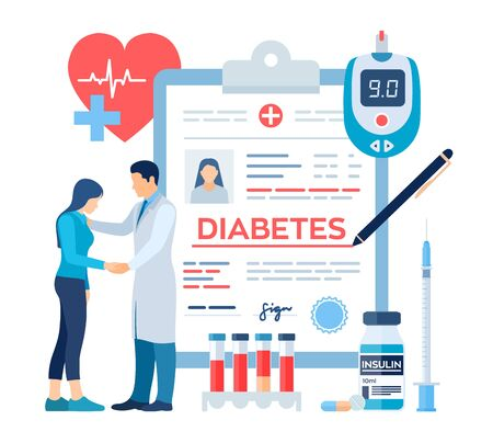 Medical diagnosis - Diabetes. Diabetes mellitus type 2 and insulin production concept. Doctor taking care of patient. Blood glucose meter, pills, syringe and insulin vial. Vector illustration
