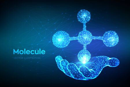 Molecule Structure. Low poly abstract Molecule in hand. Dna, atom, neurons. Molecules and chemical formulas. Scientific background for medicine, science, biology. 3D polygonal vector illustration Ilustração