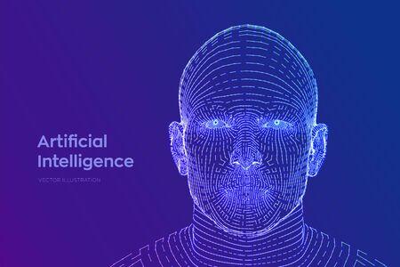 AI. Artificial intelligence concept. Ai digital brain. Abstract digital human face. Human head in robot digital computer interpretation. Robotics concept. Wireframe head concept. Vector illustration