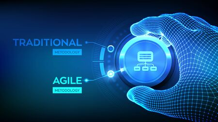 Agile software development methodology concept. Wireframe hand turning a knob and selecting Agile mode. Digital technology, big data concept. Flexible developing process. Vector illustration