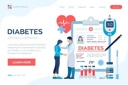 Medical diagnosis - Diabetes. Diabetes mellitus type 2 and insulin production concept. Doctor taking care of patient. Blood glucose meter, pills, syringe and insulin vial. Vector illustration Banco de Imagens - 130616916